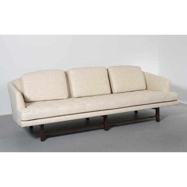 Edward Wormley for Dunbar sofa, newly upholstered silk on mahogany base USA, circa 1956. 3 removable back cushions...