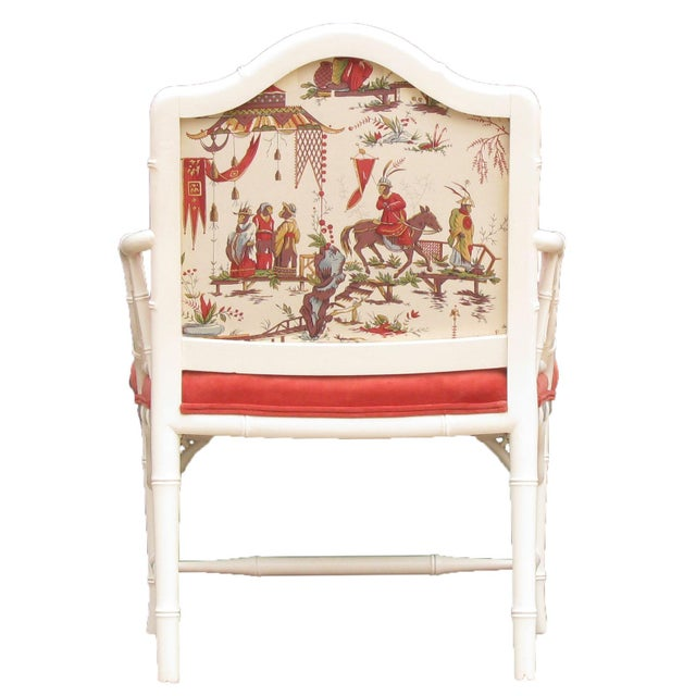 Faux Bamboo Chinoiserie Chairs in Coral & White, Pair For Sale - Image 6 of 8