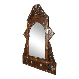 Antique 19th Century Syrian Damascus Mirror With Mother-Of-Pearl For Sale