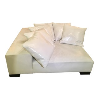 Modern White Leather Minimal Square Sofa