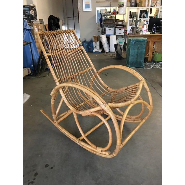 1950s Restored Oversized Stick Rattan Rocking Chair in the Style of Franco Albini For Sale - Image 5 of 12