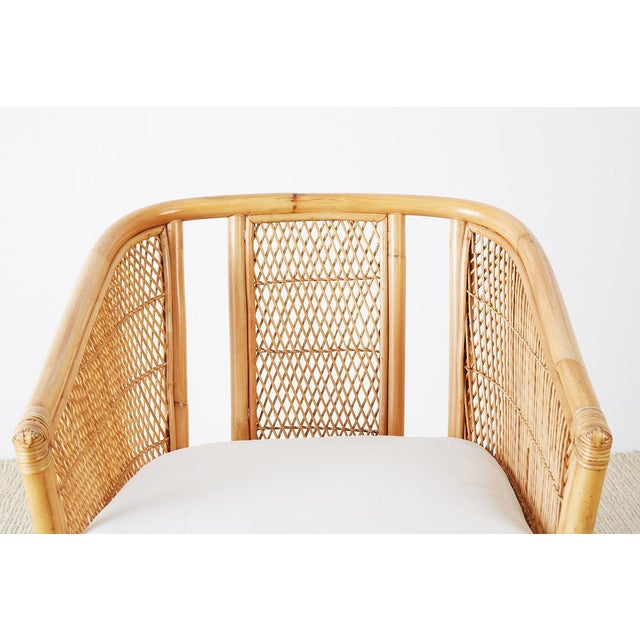 Bamboo Midcentury Bamboo Rattan Wicker Lounge Chair For Sale - Image 7 of 13