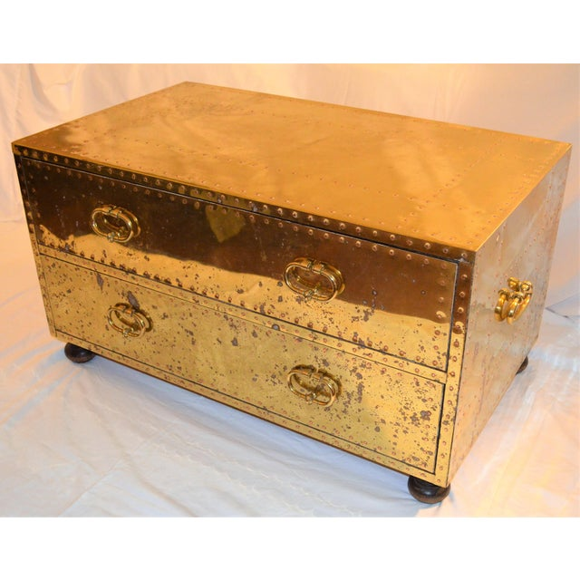 Gold (Final Markdown) 1970s Hollywood Regency Sarreid Brass Clad Two Drawer Chest For Sale - Image 8 of 12