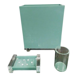 3 Piece Vintage Tiffany Blue and Lucite Bathroom Accessory Waste Basket, Soap Dish Set For Sale