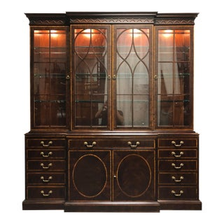 Henredon 18th Century Portfolio Banded Mahogany Breakfront China Cabinet For Sale