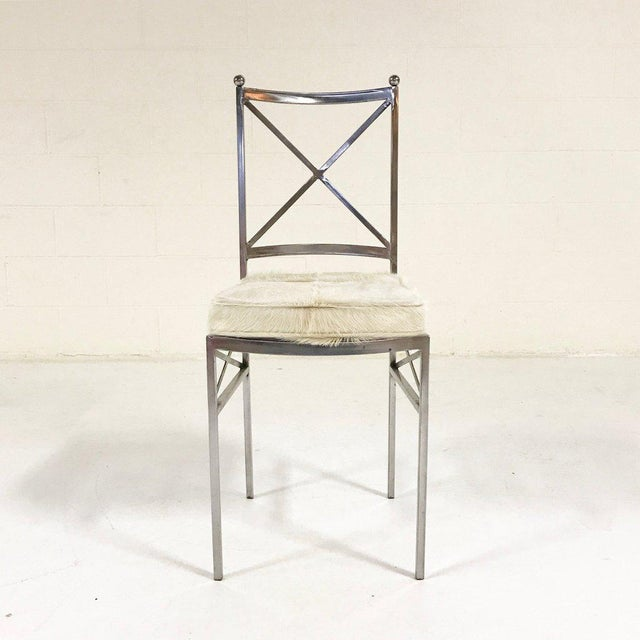 Silver Forsyth One of a Kind Mid-Century Swedish Polished Steel Dining Chairs With Custom Ivory Cowhide Cushions - Set of 10 For Sale - Image 8 of 11