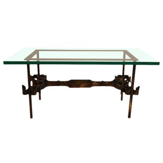 Wrought Iron Base Glass Top Table For Sale