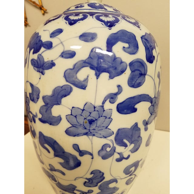 Asian Contermporary Chinese Blue and White Ginger Jar For Sale - Image 3 of 4