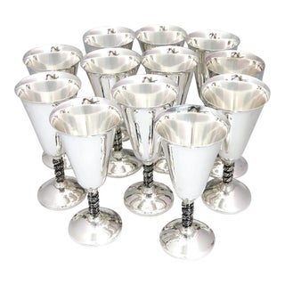 Spanish Roma S.L. Silver Wine Goblets With Grape Pattern Stem - Set of 12 For Sale