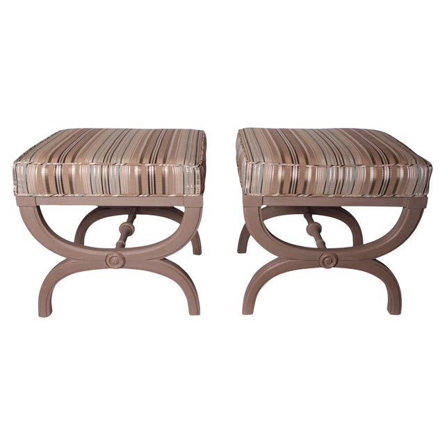 Vintage Hollywood Regency X-Benches - A Pair - Image 1 of 2