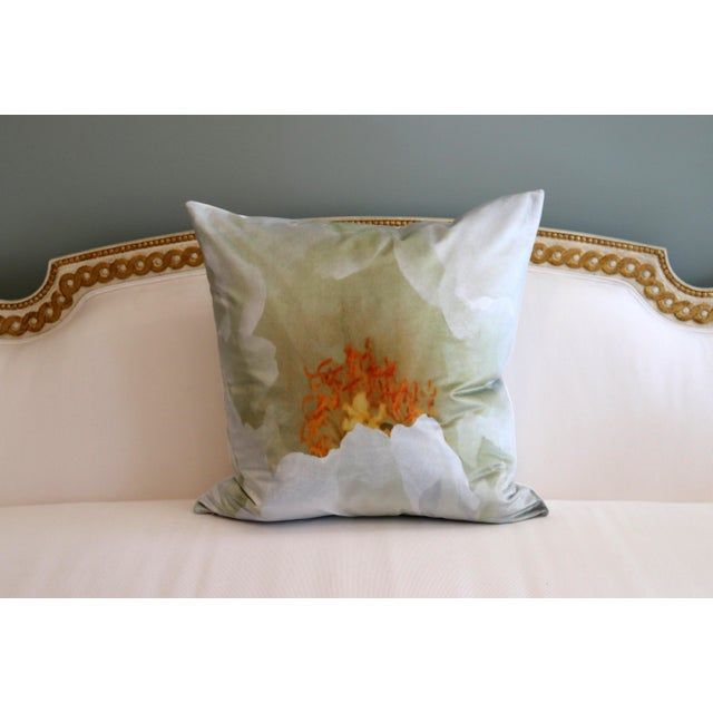 White White Tree Peony Bloom in Rodin Museum Garden Paris Photo Pillow For Sale - Image 8 of 13