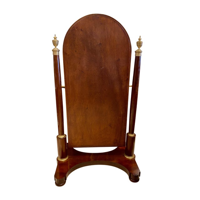 French French Restauration Mahogany and Bronze Mounted Cheval Mirror For Sale - Image 3 of 13