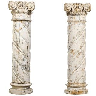 18th Century French Country White Carved Wood Columns - a Pair