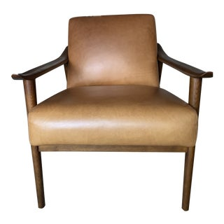 West Elm Mid-Century Style Leather Show Chair For Sale