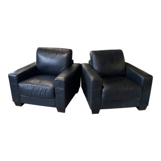 1980s Italian Black Leather Cube Chairs - a Pair For Sale