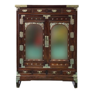 Chinese Korean Style Mother of Peal Mirror Storage Stack Cabinet For Sale