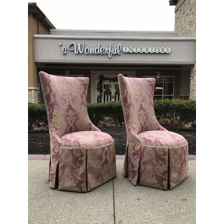 1940s Vintage Lee Jofa Host Dining Chairs Pink Ombre Damask - a Pair Preview