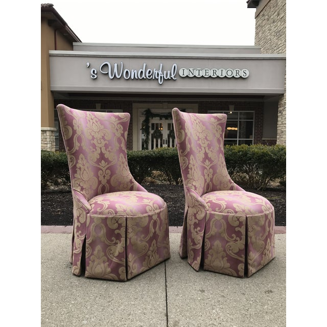 Beautified restored pair of arm less chair reupholstered with Lee Jofa for Kravet, ombre damask in shades of pinks and...