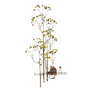 Curtis Jere Farm & Tree Metal Wall Sculpture For Sale