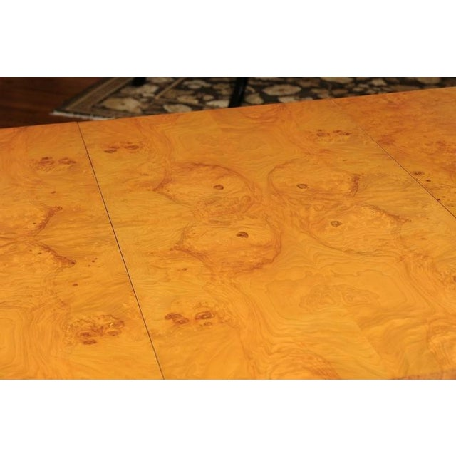 Outstanding Extension Dining or Conference Table in Bookmatched Olivewood For Sale In Atlanta - Image 6 of 10