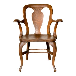 Antique Tiger Oak Side Arm Chair For Sale