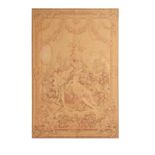 Late 19th Century Antique French Pictorial Cream Beige Wool Tapestry Rug - 4′6″ × 6′6″ For Sale