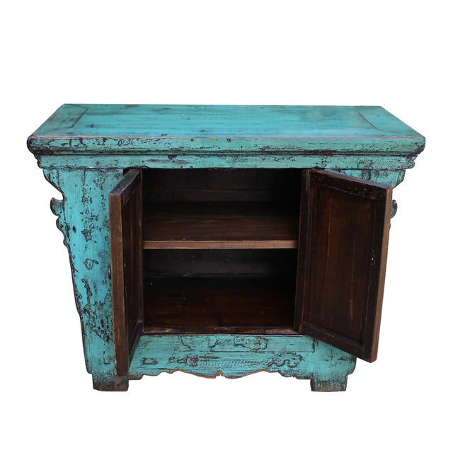 Chinese Rustic Rough Wood Distressed Aqua Blue Side Table Cabinet For Sale In San Francisco - Image 6 of 8