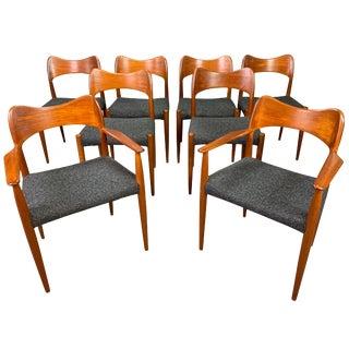 Mid Century Modern Arne Hovmand Olsen Danish Teak Dining Chairs- Set of 8 For Sale
