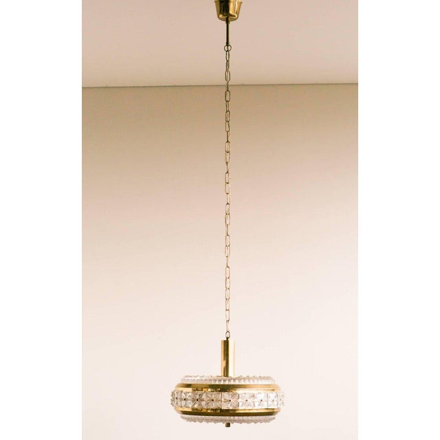 Gold Orrefors Chrystal and Brass Chandelier For Sale - Image 8 of 8