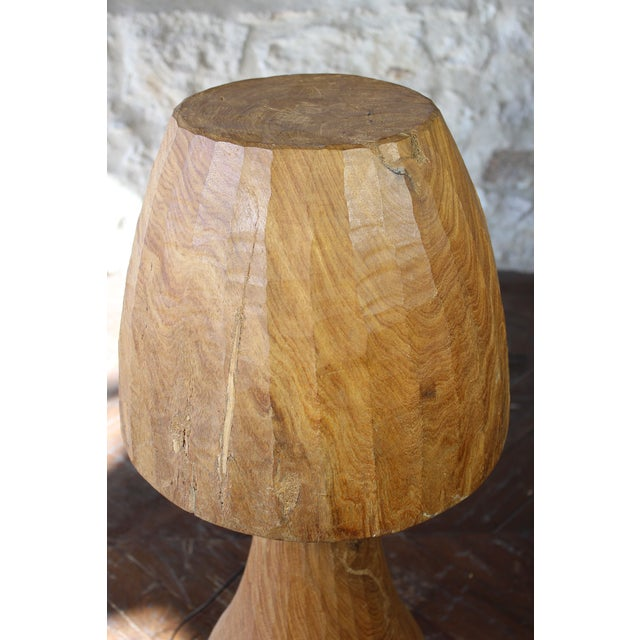 Contemporary Vintage Wooden Mushroom Form Lamp For Sale - Image 3 of 8