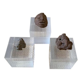 Pre-Columbian Pottery Pieces on Lucite Base - Set of 3 For Sale