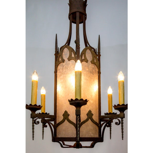 Large Antique Gothic Revival Bronze & Mica Lanterns (2 Available) For Sale - Image 4 of 13