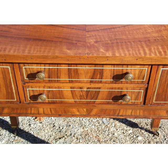Brown Antique Sheraton Federal Walnut Petite Buffet Server Cart Entry Table Console For Sale - Image 8 of 13