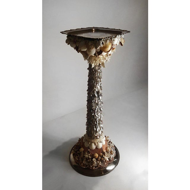 Handmade Exotic Sea Shell Encrusted Silver Plated Display Pedestal For Sale - Image 9 of 10