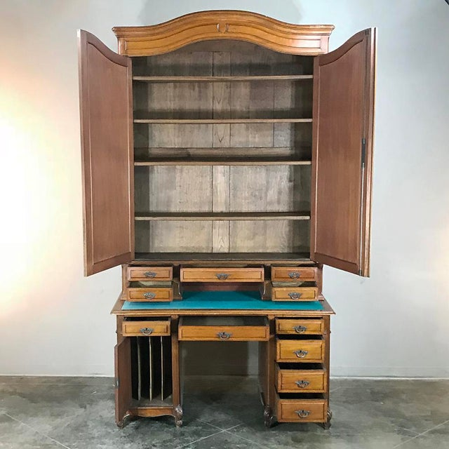 Wood Grand 19th Century Louis Philippe Walnut Desk With Bookcase For Sale - Image 7 of 12