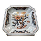 Image of Chinoiserie Gilt Floral Lotus Porcelain Catchall Dish For Sale