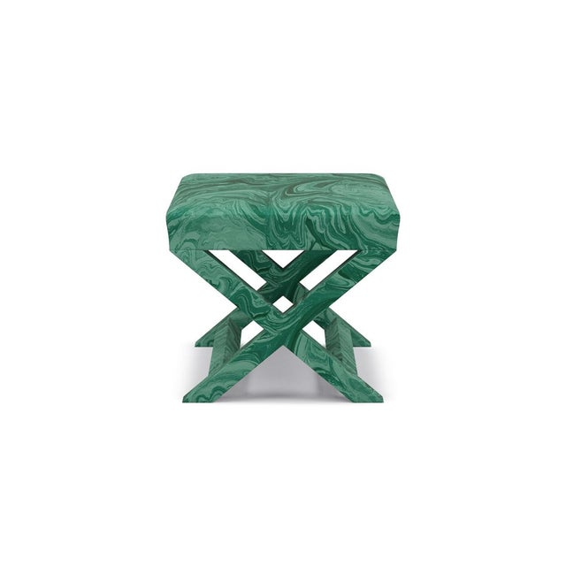 The Inside Scalamandre X Bench in Malachite For Sale - Image 4 of 4