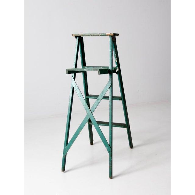 Vintage Green Wooden Ladder For Sale - Image 6 of 10