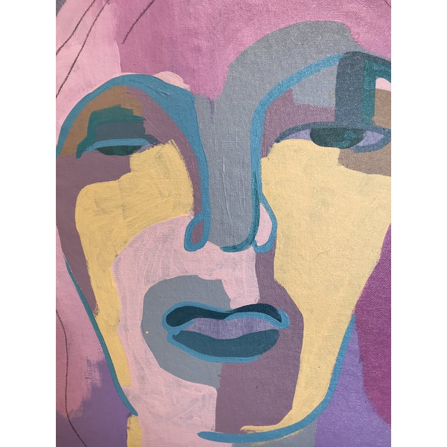 "Contemporary Abstract Portrait Painting ""I Was Looking for Her"" - Framed For Sale In Detroit - Image 6 of 8"