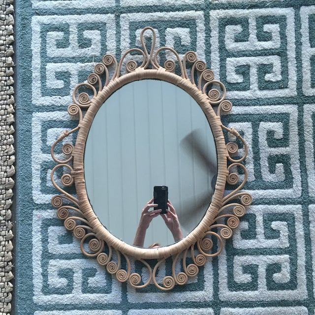 Vintage Rattan Peacock Coiled Oval Mirror - Image 10 of 11