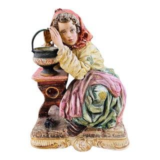 1960's Vintage Italian Porcelain Pensive Farmer Girl Sculpture or Statue For Sale