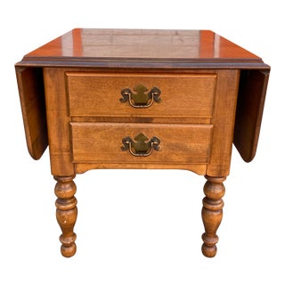 1980s Ethan Allen Heirloom Drop Leaf End Table For Sale
