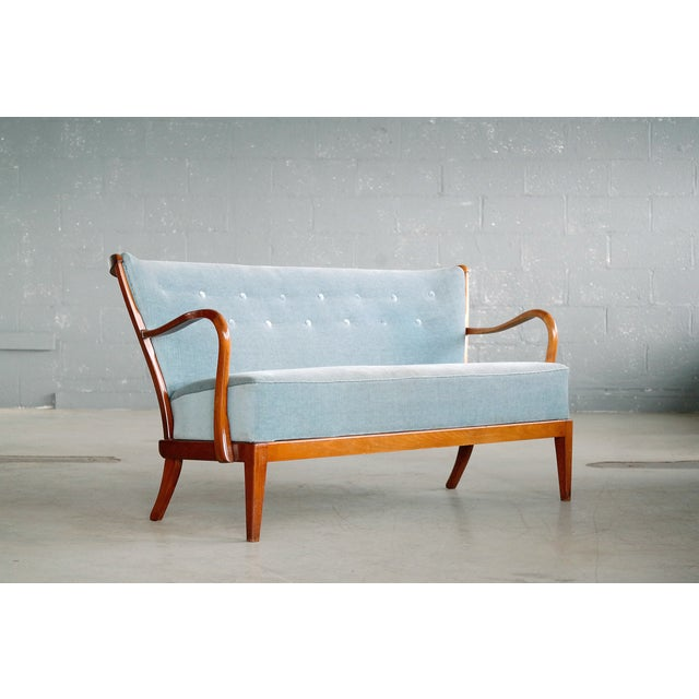 Beech Fritz Hansen Attributed 1940s Sofa or Settee With Open Armrests and Spindle Back For Sale - Image 7 of 7
