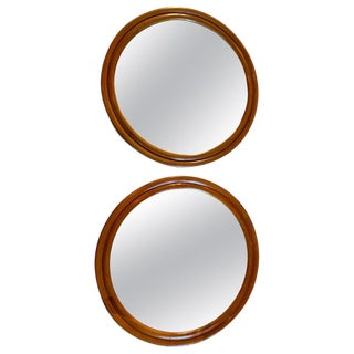 Wood Framed Round Mirrors- a Pair For Sale