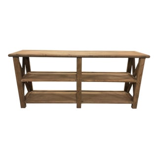 Boho Chic Natural Shelving Console For Sale