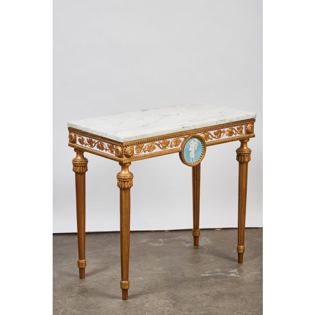 1790's Swedish White Marble and Gilded Console and Mirror For Sale - Image 4 of 10