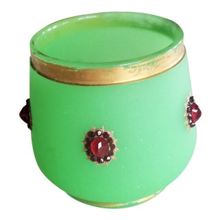 Green Opaline Vessel With Jewels For Sale