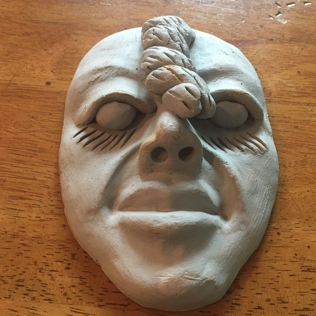 Vintage Outsider Clay Art Human Face Sculpture For Sale - Image 4 of 7