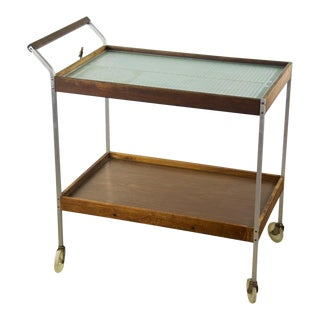 1960s Mid-Century Modern Salton Teak Warming Cart on Wheels