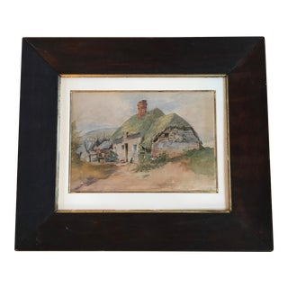 "Mid 19th Century ""Irish Thatched Cottage"" Watercolor Painting, Framed For Sale"